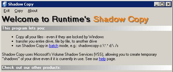 shadow copy data recovery software products runtime software products